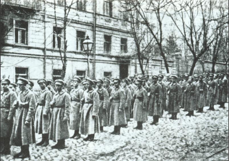 Команда сечевых стрельцов во время январских боев в Киеве. 1918