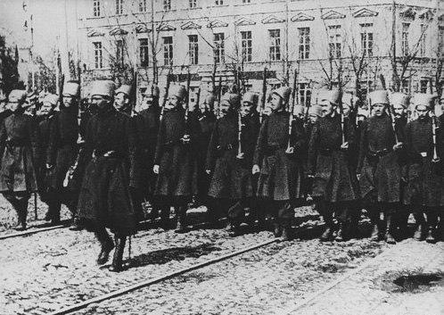 Парад 1-ї Української «Синьожупанної» Дивізії.24 марта 1918 года.